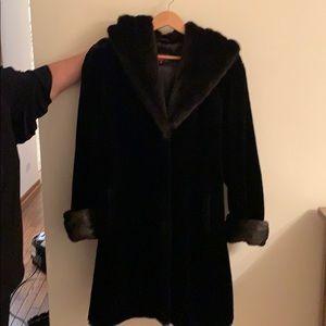 Faux fur black and brown coat